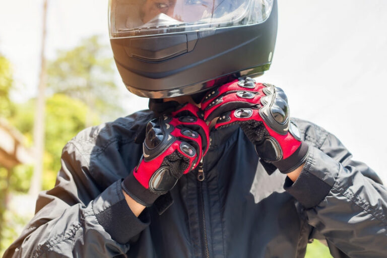 Man in a Motorcycle with helmet and gloves